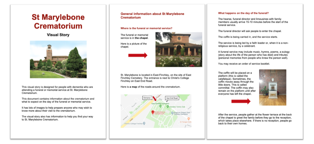 Sample visual story guide for crematorium. Copyright (c) Rosalie Kuyvenhoven